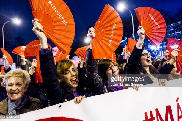 Leticia Dolera demand equal working rights and an end to violence against women in Spanish society during a march to celebrate International Women's...
