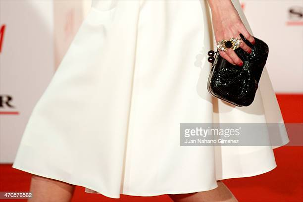 Leticia Dolera purse detail attends the 'Requisitos Para Ser Una Persona Normal' premiere during the 18th Malaga Spanish Film Festival at Cervantes...
