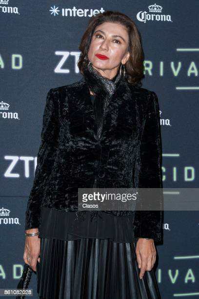 Leticia Huijara poses during the red carpet of the play 'Privacidad' at Teatro de los Insurgentes on October 12 2017 in Mexico City Mexico