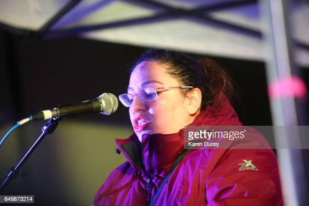 Leticia Parks Mexican activist and member of Socialist Alternative and Morena speaks a rally at Westlake Center on March 8 2017 in Seattle Washington...