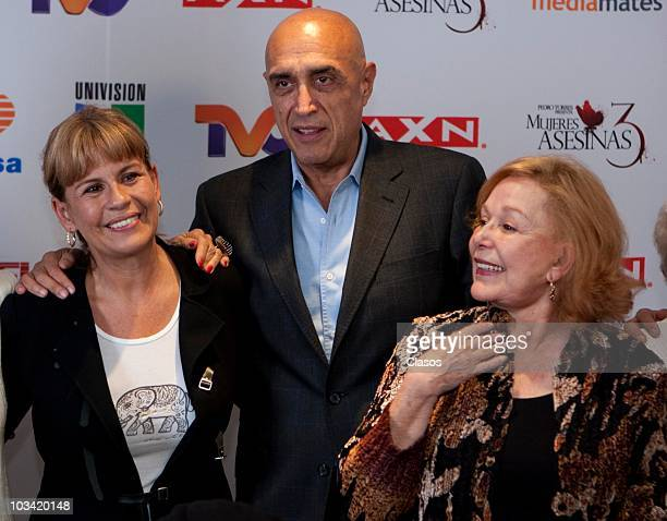 Leticia Perdigon, Pedro Torres and Irma Lozano pose during the presentation of a chapter of the Mujeres Asesinas 3 on August 16, 2010 in Mexico City,...