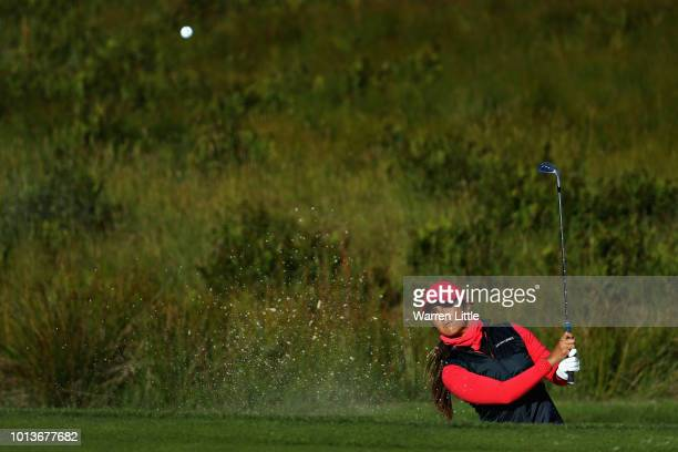Leticia Ras-Anderica of Germany plays from a bunker on hole one during match 3 of Group A during day two of the European Golf Team Championships at...