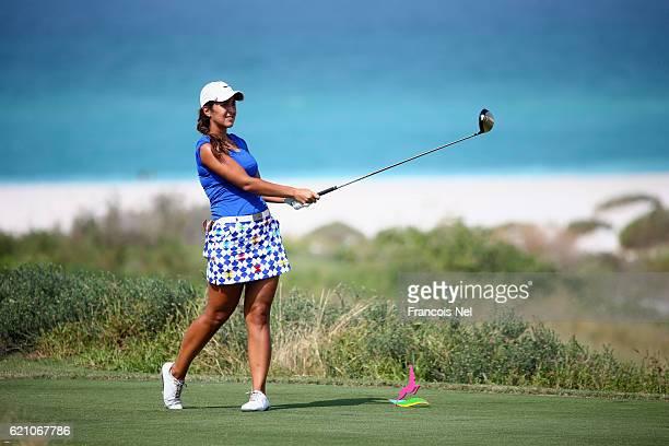 Leticia RasAnderica of Germany tees off on the 7th hole during the third round of the Fatima Bint Mubarak Ladies Open at Saadiyat Beach Golf Club on...