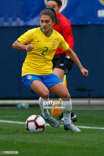 Leticia S #2 of Brazil plays during the 2019 SheBelieves Cup match between Brazil and Japan at Nissan Stadium on March 2 2019 in Nashville Tennessee