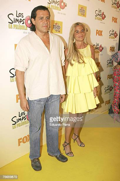 Leticia Sabater and guest arrive at The Simpsons Movie Madrid Premiere at Capitol Cinema on July 25 2007 in Madrid Spain