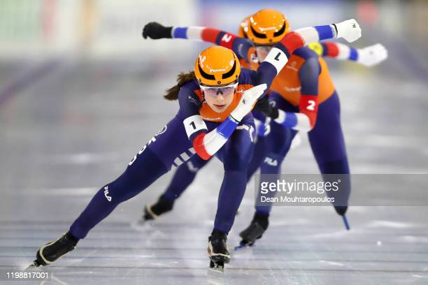 Letitia de Jong, Femke Kok and Ireen Wust of Netherlands compete in the Team Sprint Women during the ISU European Speed Skating Championships at the...