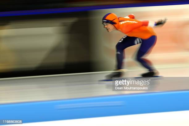 Letitia de Jong of Netherlands competes in the 500m Ladies Final during the ISU European Speed Skating Championships at the Thialf Arena on January...