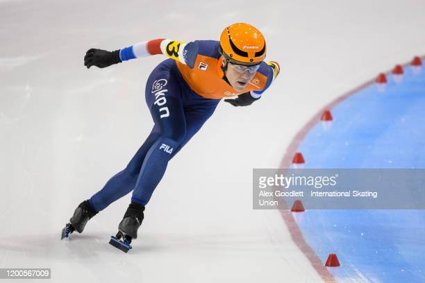 Letitia De Jong of the Netherlands finishes the ladies' team sprint during the ISU World Single Distances Speed Skating Championships on February 13...