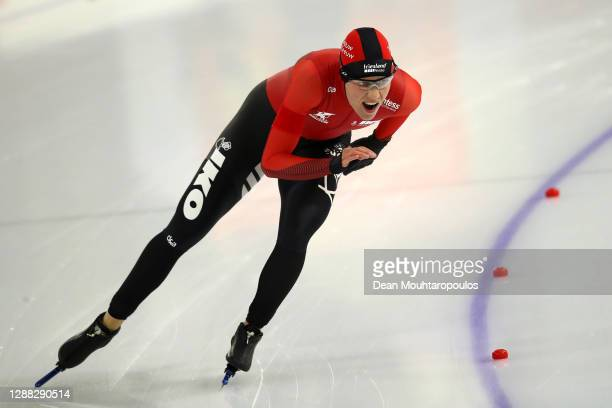 Letitia de Jong of Veenwouden competes in the 1000m women's Sprint race on Day 1 of the Daikin NK Sprint or Daikin Dutch Sprint Championships at the...
