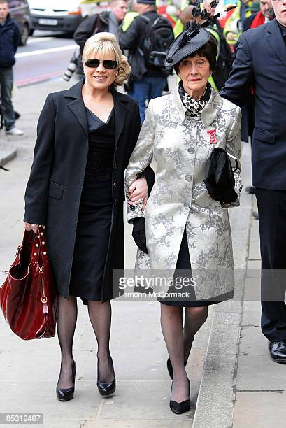 Letitia Dean and June Brown attend the funeral of actress Wendy Richard at St Mary's Church, Marylebone High Street on March 09, 2009 in London,...