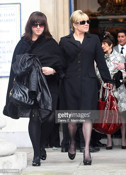 Letitia Dean and Natalie Cassidy attend the funeral of actress Wendy Richard at St Mary's Church, Marylebone High Street on March 9, 2009 in London,...