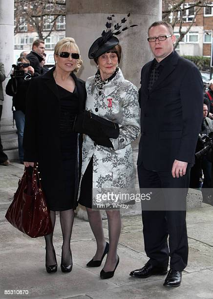 Letitia Dean June Brown and Ricky Groves arrive for the Funeral of actress Wendy Richard at St Mary's Church Marylebone High Street on March 09 2009...