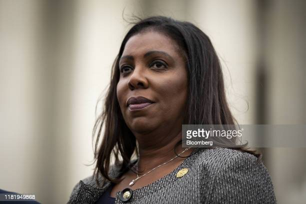 Letitia James, New York's attorney general, listens during a news conference outside the Supreme Court in Washington, D.C., U.S., on Tuesday, Nov....
