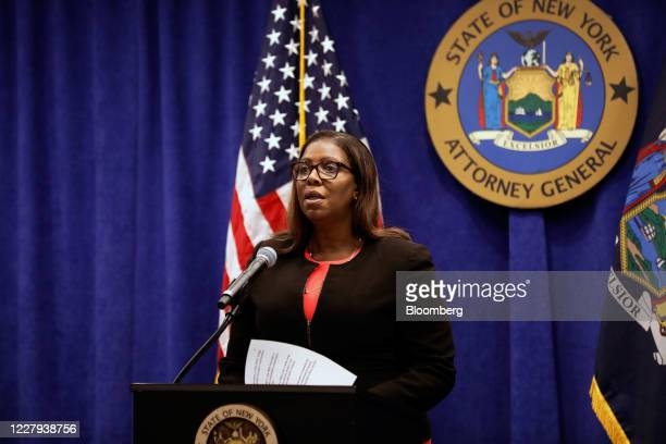 Letitia James, New York's attorney general, speaks during a news conference in New York, U.S., Thursday, Aug. 6, 2020. New York is seeking to...