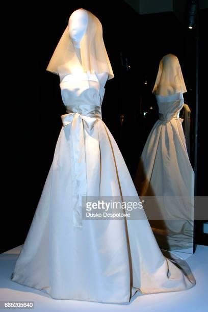 Letitia Ortiz selected a wedding dress designed by Spanish creator Manuel Pertegaz A Pertegaz bridal gown on display | Location Madrid Spain