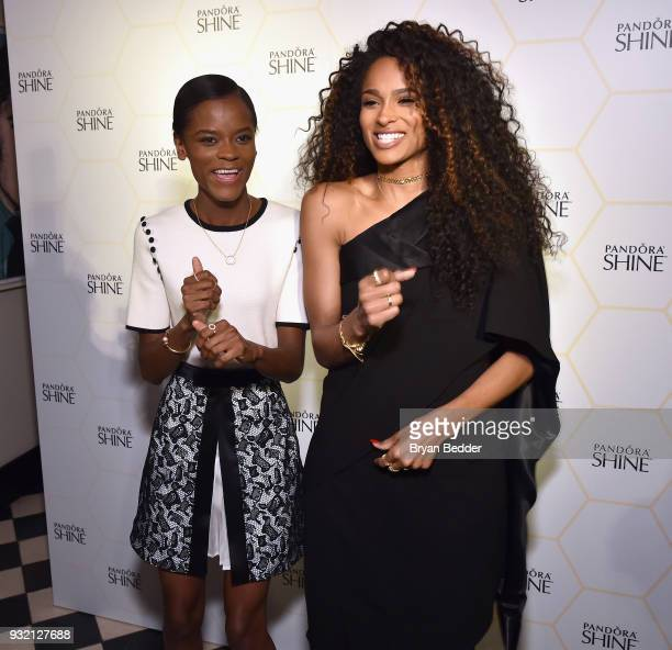 Letitia Wright and Ciara pose during the PANDORA Jewelry Shine Collection Launch with Ciara on March 14 2018 in New York City