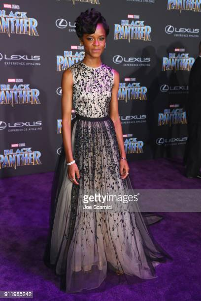 Letitia Wright arrives for the World Premiere of Marvel Studios' Black Panther presented by Lexus at Dolby Theatre in Hollywood on January 29th