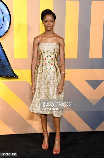 Letitia Wright attends the European Premiere of 'Black Panther' at Eventim Apollo on February 8 2018 in London England