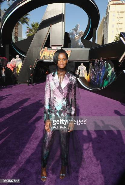 Letitia Wright attends the Los Angeles Global Premiere for Marvel Studios' Avengers Infinity War on April 23 2018 in Hollywood California
