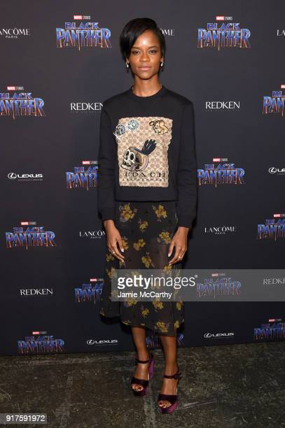 Letitia Wright attends the Marvel Studios Black Panther Welcome to Wakanda New York Fashion Week Showcase at Industria Studios on February 12 2018 in...