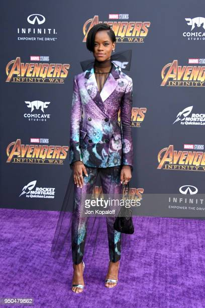 Letitia Wright attends the premiere of Disney and Marvel's 'Avengers Infinity War' on April 23 2018 in Los Angeles California
