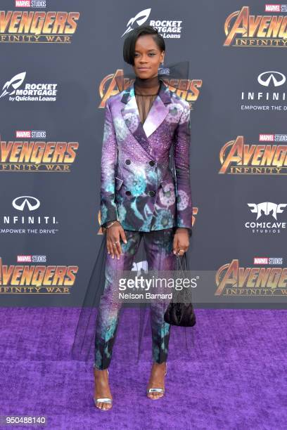 Letitia Wright attends the premiere of Disney and Marvel's 'Avengers: Infinity War' on April 23, 2018 in Los Angeles, California.