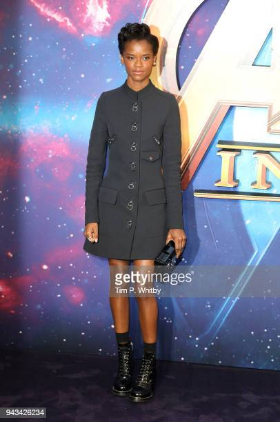 Letitia Wright attends the UK Fan Event for Avengers Infinity War at Television Studios White City on April 8 2018 in London England