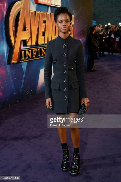 Letitia Wright attends the UK Fan Event for 'Avengers Infinity War' at Television Studios White City on April 8 2018 in London England