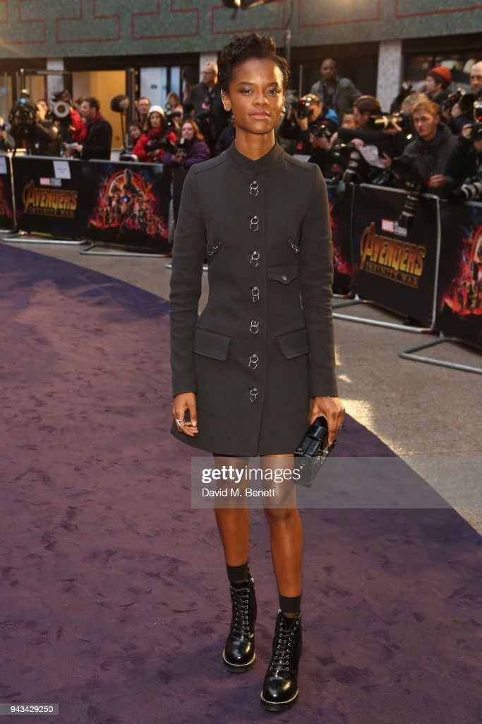 Letitia Wright attends the UK Fan Event for 'Avengers: Infinity War' at the Television Studios White City on April 8, 2018 in London, England.