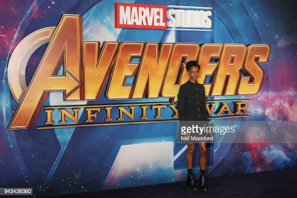 """Letitia Wright attends the UK Fan Event for """"Avengers Infinity War"""" at Television Studios White City on April 8, 2018 in London, England."""