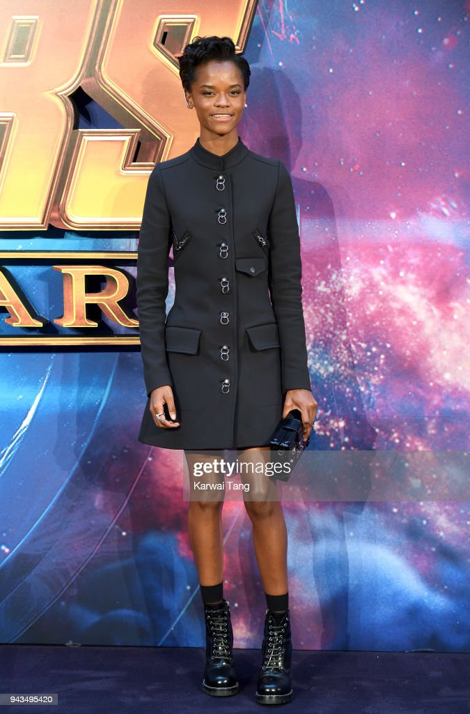 Letitia Wright attends the UK Fan Event for 'Avengers Infinity War' at Television Studios White City on April 8, 2018 in London, England.