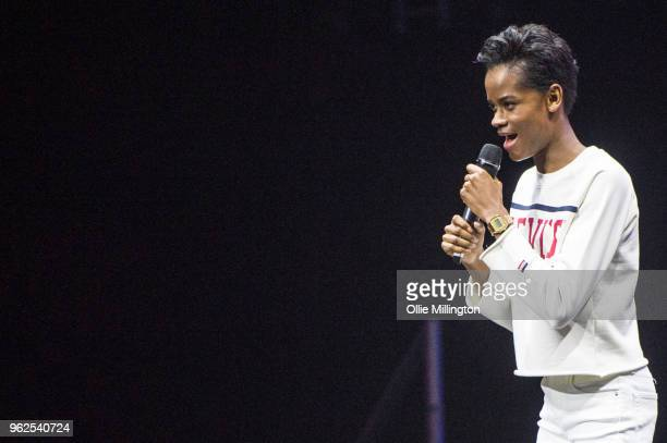 Letitia Wright in discussion about Black Panther The Avengers and the wider Marvel Cinematic Universe on Day 1 of the MCM London Comic Con at The...