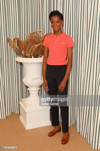 Letitia Wright in Polo Ralph Lauren attends the Polo Ralph Lauren suite during the Wimbledon Tennis Championship Men's Final at All England Lawn...