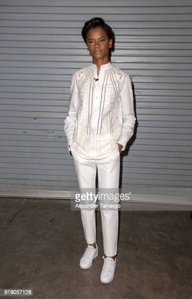 Letitia Wright is seen on the set of 'Despierta America' at Univision Studios to promote the film 'Black Panther' on February 16 2018 in Miami Florida