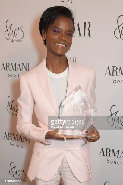 Letitia Wright, winner of the Breakthrough Talent Award, attends the Harper's Bazaar Women of the Year Awards 2019, in partnership with Armani...