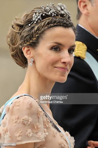 Letizia Crown Princess of Asturias attends the wedding of Crown Princess Victoria of Sweden and Daniel Westling on June 19 2010 in Stockholm Sweden