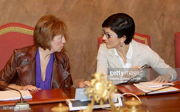 Letizia Moratti and Mariastella Gelmini attend the School Construction Industry Conference held at Palazzo Marino on November 29 2010 in Milan Italy...