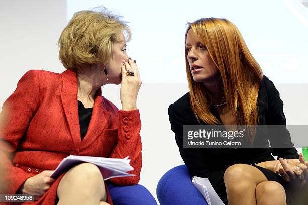 Letizia Moratti and Michela Vittoria Brambilla attend the 2011 BIT International Tourism Exchange held at Fieramilano on February 17, 2011 in Milan,...