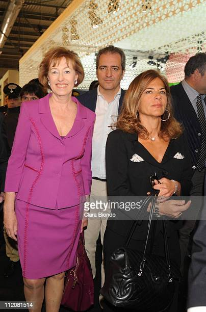Letizia Moratti Giovanni Terzi and Emma Marcegaglia attend the 2011 Salone Internazionale del Mobile opening on April 12 2011 in Rho Italy