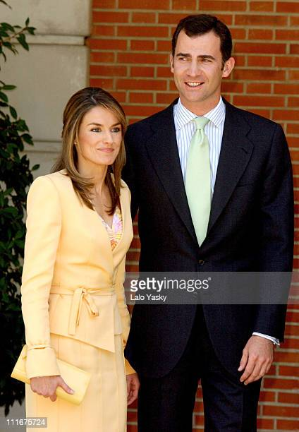 Letizia Ortiz and Crown Prince Felipe during Crown Prince Felipe and Fiance Letizia Ortiz Received by Spanish Prime Minister Jose Luis Rodriguez...