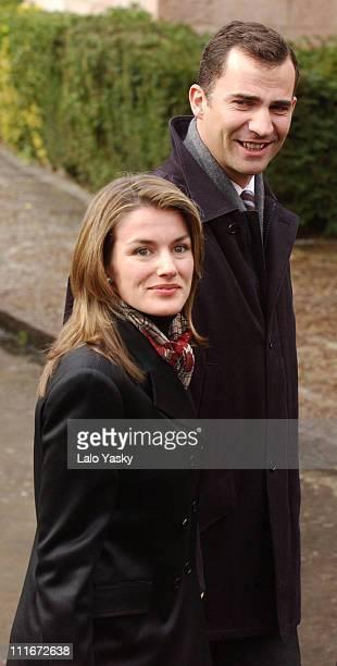 Letizia Ortiz and Crown Prince Felipe of Spain during Crown Prince Felipe Of Spain Visits Covadonga Monastery at Covadonga Monastery in Covadonga...