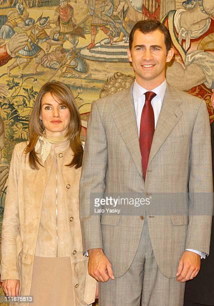 Letizia Ortiz and Crown Prince Felipe of Spain during Crown Prince Felipe of Spain and his Fiancee Letizia Ortiz Meet Officials in Preparation for...