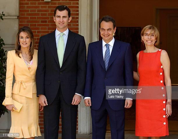 Letizia Ortiz Crown Prince Felipe Jose Luis Rodriguez Zapatero and Sonsoles Espinosa