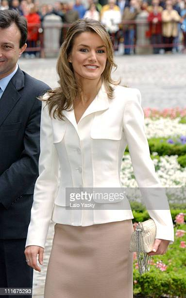 Letizia Ortiz Rocasolano during Crown Prince Felipe and Fiancee Letizia Ortiz Rocasolano Visit City Hall at City Hall in Madrid Spain
