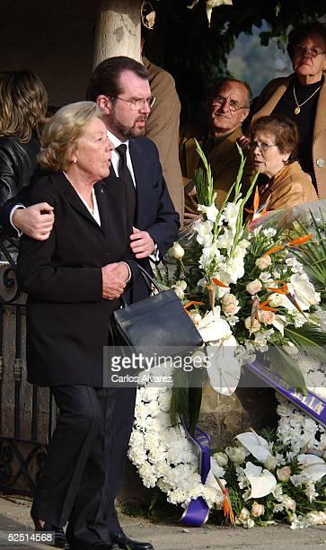 Letizia's grandmother Menchu Alvarez del Valle and Letiza's father Jesus Ortiz attend the funeral of Letizia's grandfather Jose Luis Ortiz Velasco at...