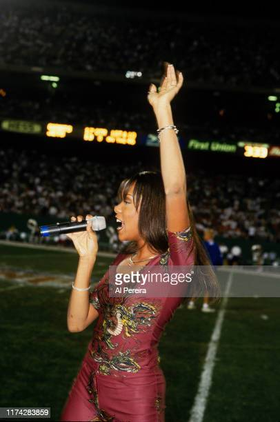 LeToya Luckett and Destiny's Child perform at halftime of the New York Giants v New York Jets game on August 20 at Giants Stadium in East Rutherford,...