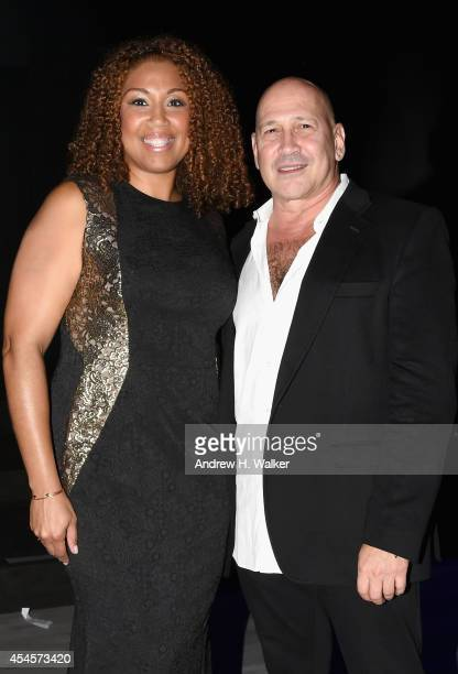 Letrice Titus and Designer Carmen Marc Valvo attend the Salute The Runway fashion show sponsored by Little Black Dress Wines Fatigues To Fabulous...
