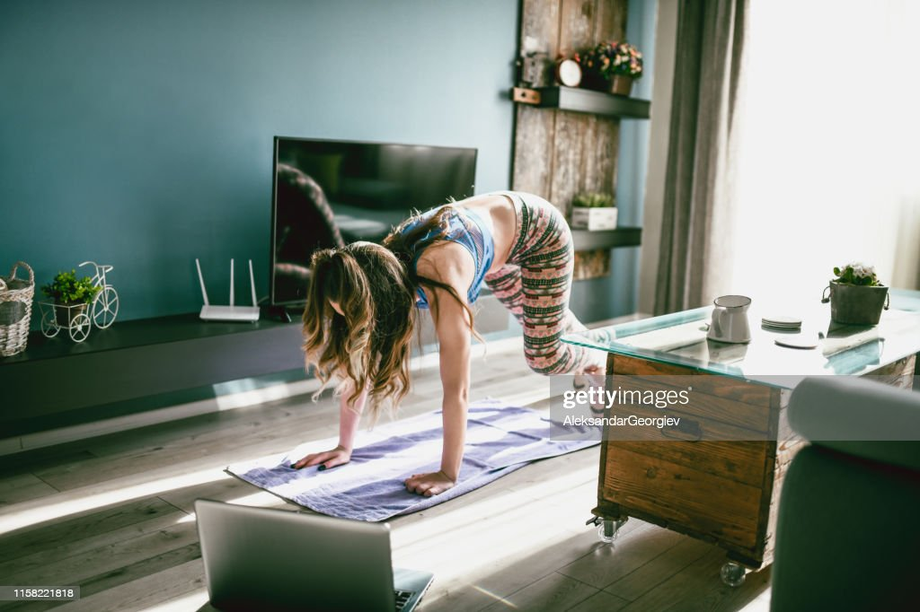 Let's Burn That Belly Fat With A Home Workout Session !!! : Stock Photo