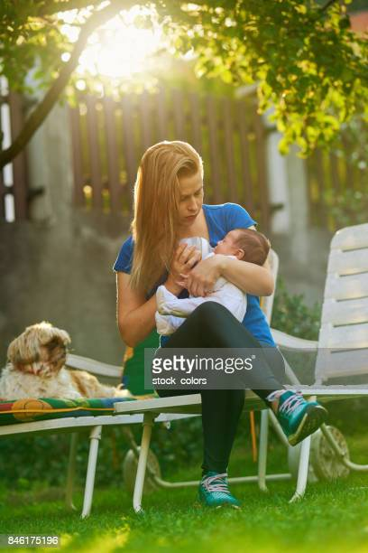 let's eat, my little one - dog eats out girl stock photos and pictures
