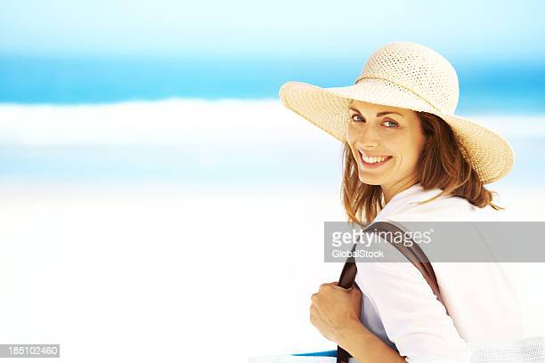 let's get away from it all - woman carrying tote bag stock photos and pictures